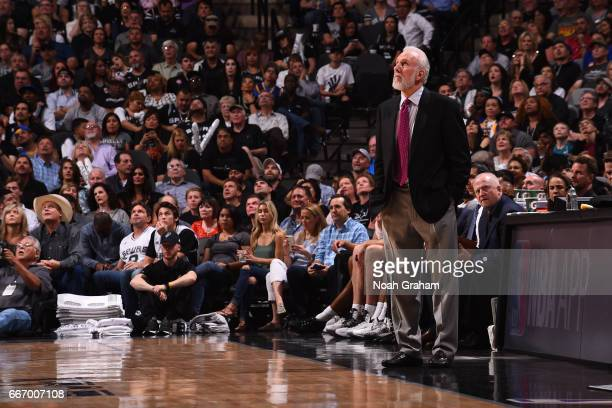Gregg Popovich of the San Antonio Spurs looks on during the game against the Golden State Warriors on March 29 2017 at ATT Center in San Antonio...