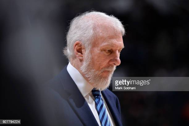 Gregg Popovich of the San Antonio Spurs looks on during the game against the Memphis Grizzlies on March 5 2018 at the ATT Center in San Antonio Texas...