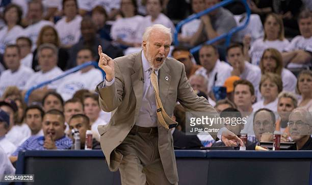 Gregg Popovich of the San Antonio Spurs protests a penalty call as his team plays the Oklahoma City Thunder during the first half of Game Four of the...