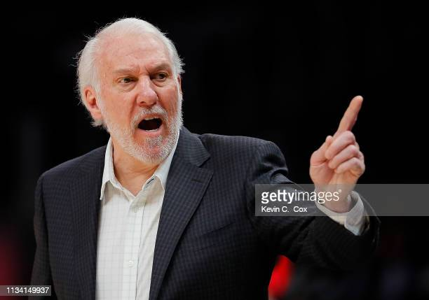 Gregg Popovich of the San Antonio Spurs reacts against the Atlanta Hawks at State Farm Arena on March 06 2019 in Atlanta Georgia NOTE TO USER User...