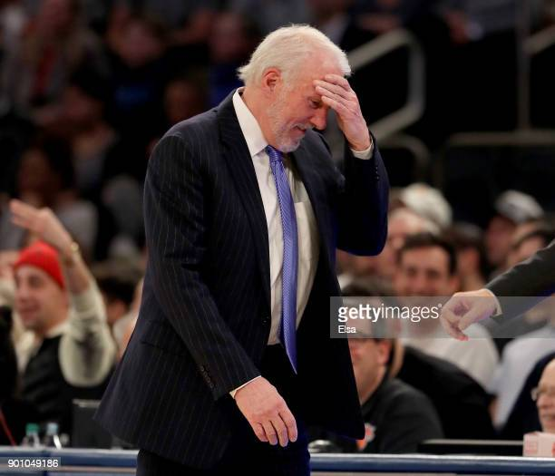 Gregg Popovich of the San Antonio Spurs reacts in the second half against the New York Knicks at Madison Square Garden on January 02 2018 in New York...