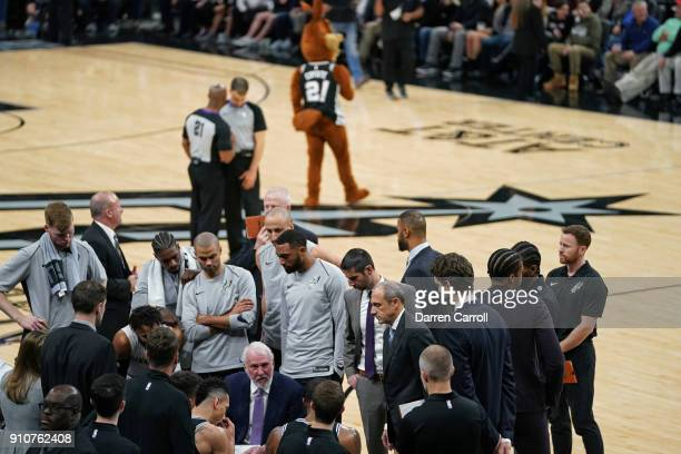 Gregg Popovich of the San Antonio Spurs talks to his team during the game against the Cleveland Cavaliers on January 23 2018 at the ATT Center in San...