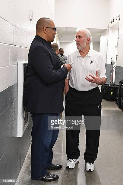 Gregg Popovich of the San Antonio Spurs talks to the media before the game against the Sacramento Kings on October 27 2016 at the Golden 1 Center in...