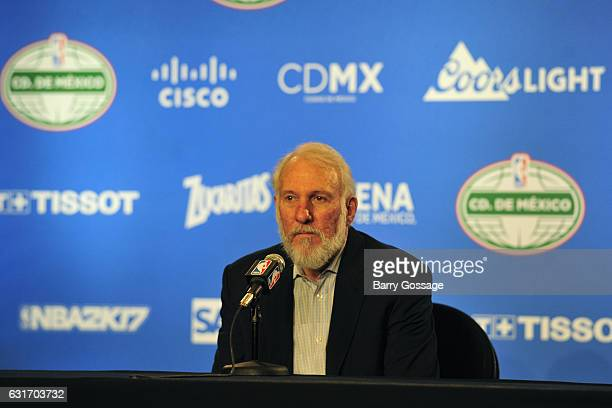 Gregg Popovich of the San Antonio Spurs talks to the media during a press conference after the game against the Phoenix Suns as part of NBA Global...
