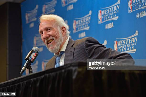 Gregg Popovich of the San Antonio Spurs talks to the media during a press conference after Game Four of the Western Conference Finals against the...
