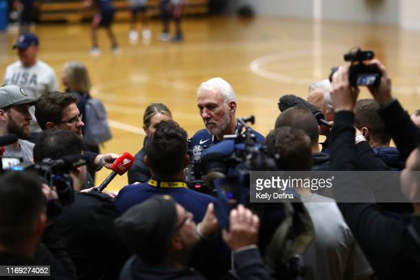 Gregg Popovich the Head Coach of the USA National Team speaks to media during a Team USA United States of America National Basketball team training...