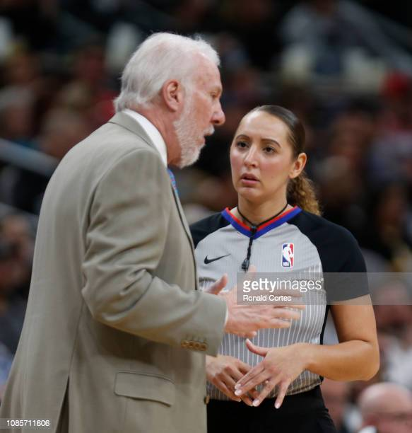 Gregg Popvich head coach of the San Antonio Spurs talks with official Ashley MoyerGleich at ATT Center on January 20 2019 in San Antonio Texas NOTE...