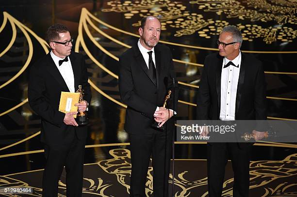 Gregg Rudloff Chris Jenkins and Ben Osmo accept the Best Sound Mixing award for 'Mad Max Fury Road' onstage during the 88th Annual Academy Awards at...