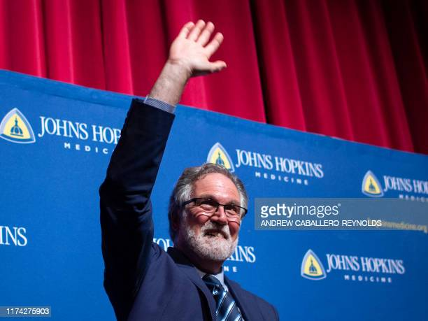 Gregg Semenza speaks at the John Hopkins School of medicine after winning the 2019 Nobel Prize in Physiology or Medicine for Hypoxia discovery in...