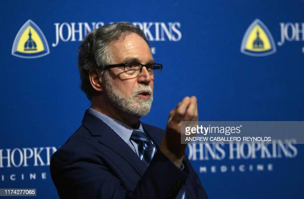 Gregg Semenza speaks at the John Hopkins School of medicine after winning the 2019 Nobel Medicine Prize for Hypoxia discovery in Baltimore Maryland...