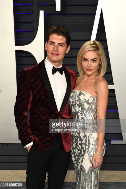 Gregg Sulkin and Michelle Randolph attend 2019 Vanity Fair Oscar Party Hosted By Radhika Jones at Wallis Annenberg Center for the Performing Arts on...