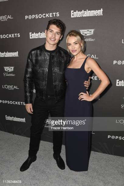 Gregg Sulkin and Michelle Randolph attend the Entertainment Weekly PreSAG Party at Chateau Marmont on January 26 2019 in Los Angeles California