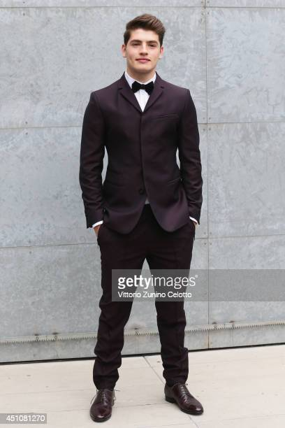 Gregg Sulkin attends the Emporio Armani show during Milan Menswear Fashion Week Spring Summer 2015 on June 23 2014 in Milan Italy