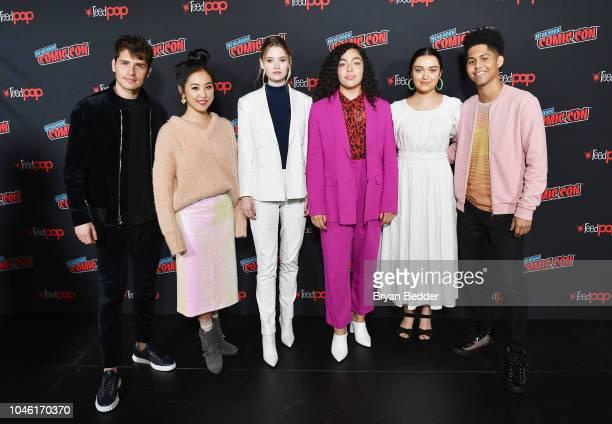 Gregg Sulkin Lyrica Okano Virginia Gardner Allegra Acosta Ariela Barer and Rhenzy Feliz pose backstage during Hulu's 'Runaways' panel at 2018 New...