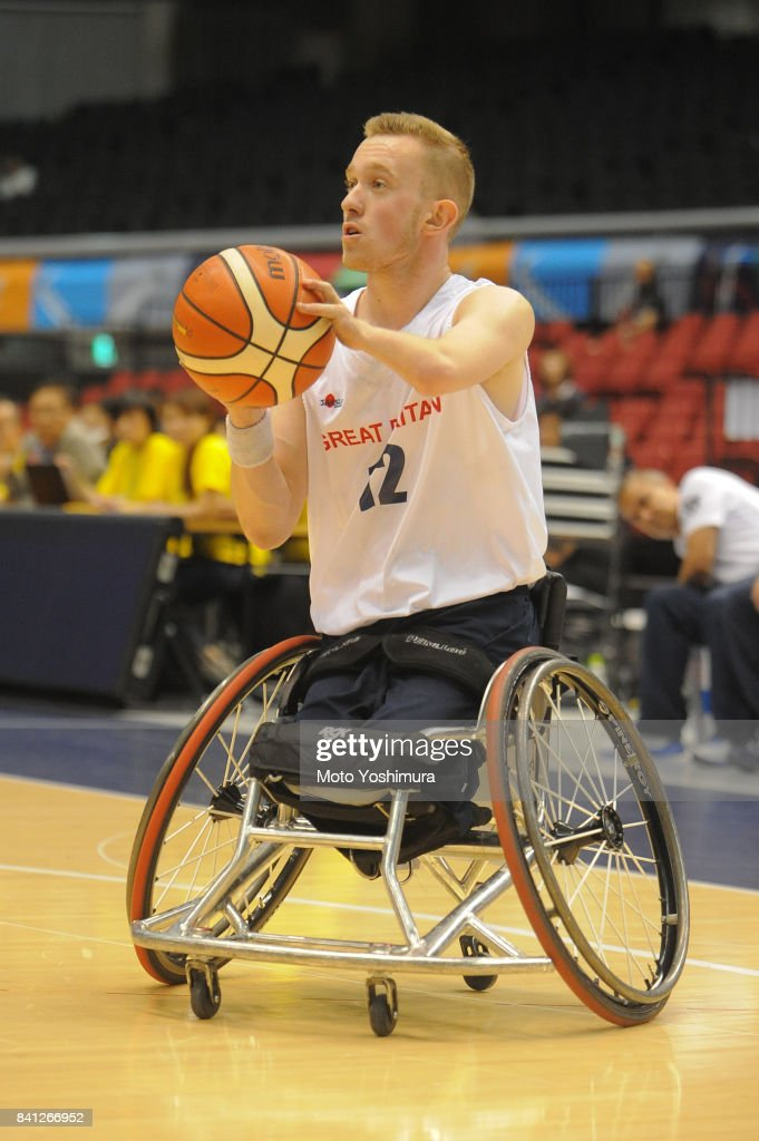 Gregg Warburton of Great Britain in action during the Wheelchair Basketball World Challenge Cup match between Great Britain and Turkey at the Tokyo Metropolitan Gymnasium on August 31, 2017 in Tokyo, Japan.