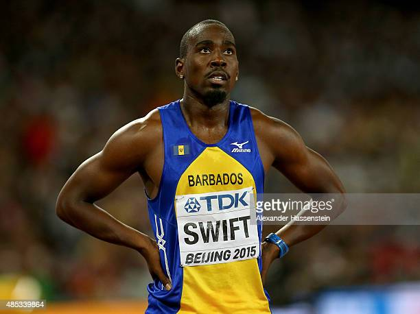 Greggmar Swift of Barbados reacts after competing in the Men's 110 metres hurdles semifinal during day six of the 15th IAAF World Athletics...