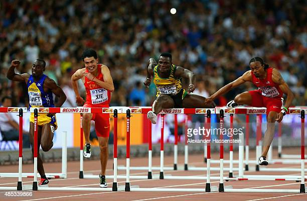 Greggmar Swift of Barbados Wenjun Xie of China Omar McLeod of Jamaica and Aries Merritt of the United States compete in the Men's 110 metres hurdles...