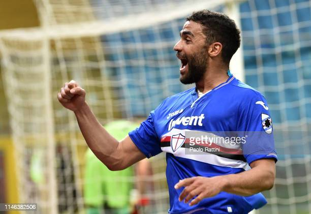Gregoire Defrel celebrates after scoring a goal making the score 10 during the Serie A match between UC Sampdoria and Juventus at Stadio Luigi...