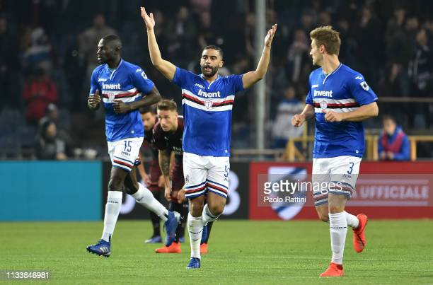 Gregoire Defrel celebrates after scoring the first goal during the Serie A match between UC Sampdoria and AC Milan at Stadio Luigi Ferraris on March...