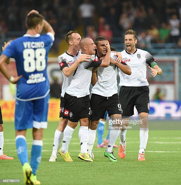Gregoire Defrel of Cesena celebrates after scoring the goal 20 during the Serie A match between AC Cesena and Empoli FC at Dino Manuzzi Stadium on...