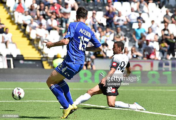 Gregoire Defrel of Cesena scores the opening goal during the Serie A match between AC Cesena and US Sassuolo Calcio at Dino Manuzzi Stadium on May 10...