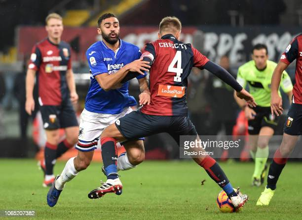 Gregoire Defrel of Sampdoria and Domenico Criscito of Genoa during the Serie A match between Genoa CFC and UC Sampdoria at Stadio Luigi Ferraris on...