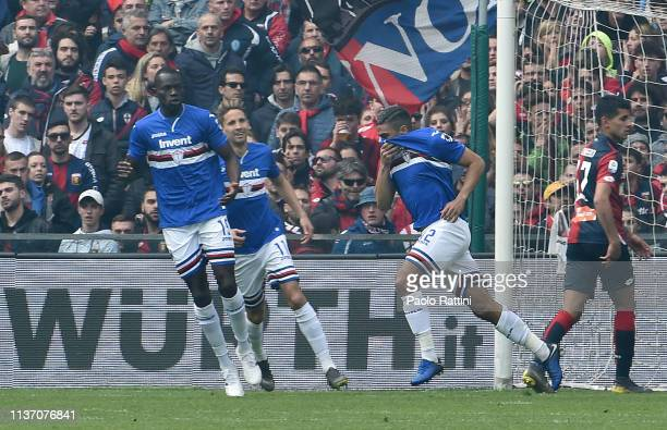 Gregoire Defrel of UC Sampdoria celebrates after scoring their first goal during the Serie A match between UC Sampdoria and Genoa CFC at Stadio Luigi...