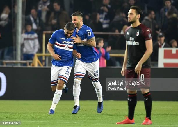 Gregoire Defrel of UC Sampdoria celebrates with Nicola Murru after scoring the first goal during the Serie A match between UC Sampdoria and AC Milan...