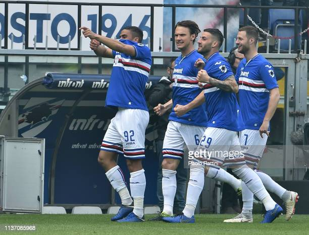 Gregoire Defrel of UC Sampdoria celebrates with Nicola Murru after scoring their first goal during the Serie A match between UC Sampdoria and Genoa...