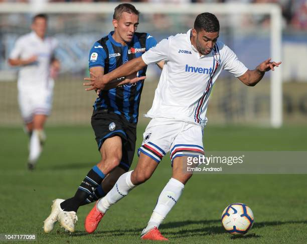Gregoire Defrel of UC Sampdoria is challenged by Timothy Castagne of Atalanta BC during the Serie A match between Atalanta BC and UC Sampdoria at...