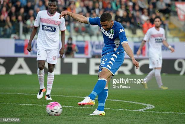 Gregoire Defrel of US Sassuolo in action during the Serie A match between Carpi FC and US Sassuolo Calcio at Alberto Braglia Stadium on April 2, 2016...