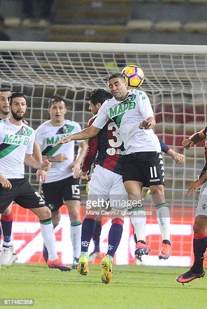 Gregoire Defrel of US Sassuolo in action during the Serie A match between Bologna FC and US Sassuolo at Stadio Renato Dall'Ara on October 23 2016 in...
