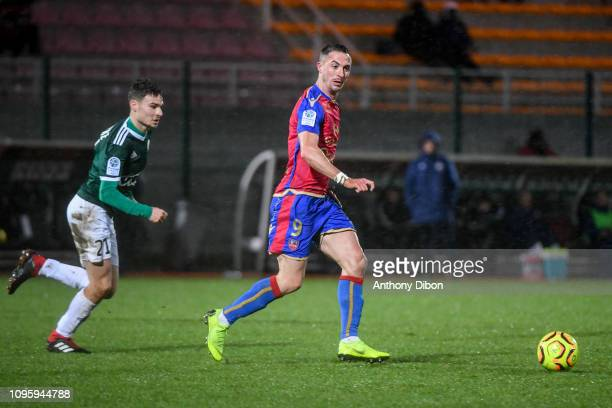 Gregoire Lefebvre of Red Star and Romain Armand of Ajaccio during the Ligue 2 match between Red Star and Gazelec Ajaccio at Stade Pierre Brisson on...