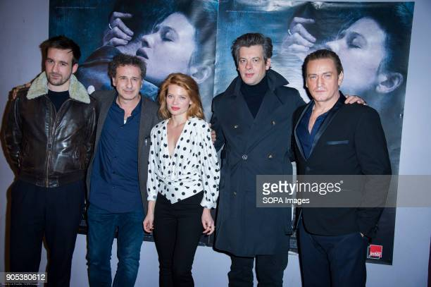 Gregoire Leprince Ringuet French director Emmanuel Finkiel Melanie Thierry Benjamin Biolay and Benoit Magimel at the premiere of 'La Douleur' at the...