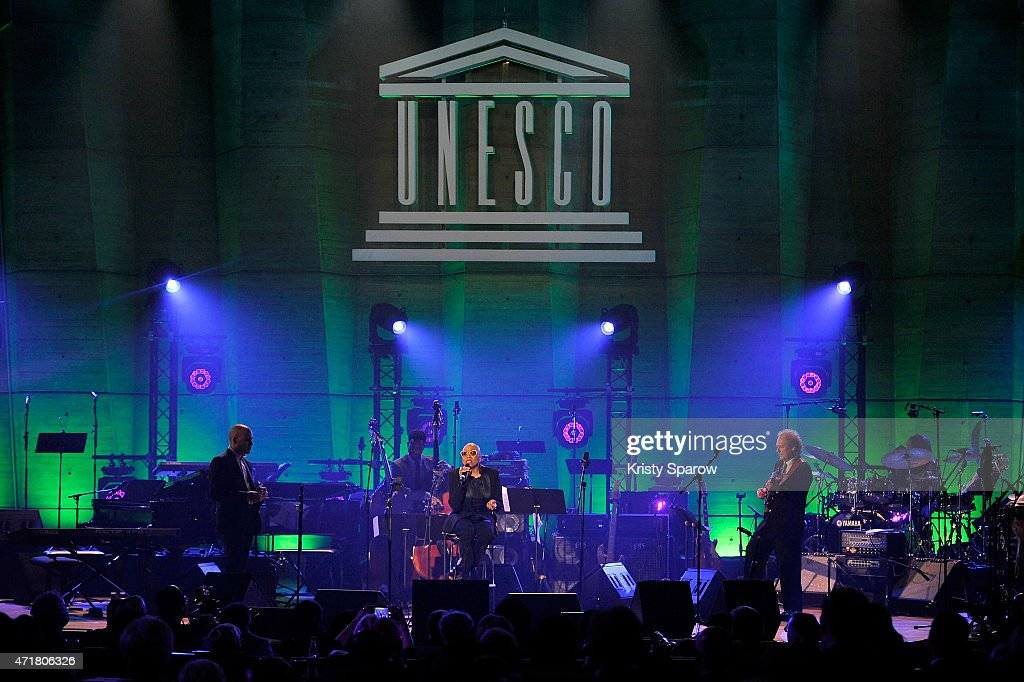 Gregoire Maret, Ben Williams, Dee Dee Bridgewater and Lee Ritenour perform on stage during the International Jazz Day 2015 Global Concert at UNESCO on April 30, 2015 in Paris, France.