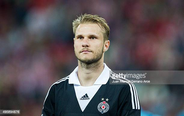 Gregor Balazic of FK Partizan looks on prior to the start the UEFA Europa League match between Athletic Club and FK Partizan at San Mames Stadium on...