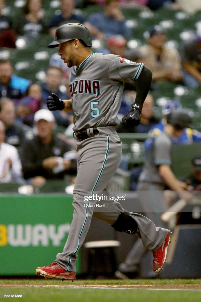 Gregor Blanco #5 of the Arizona Diamondbacks cross home plate after hitting a home run in the first inning against the Milwaukee Brewers at Miller Park on May 25, 2017 in Milwaukee, Wisconsin.