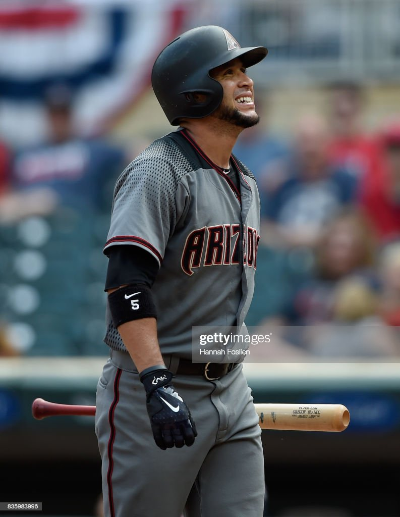 Gregor Blanco #5 of the Arizona Diamondbacks reacts to striking out against the Minnesota Twins during the ninth inning of the game on August 20, 2017 at Target Field in Minneapolis, Minnesota. The Twins defeated the Diamondbacks 12-5.