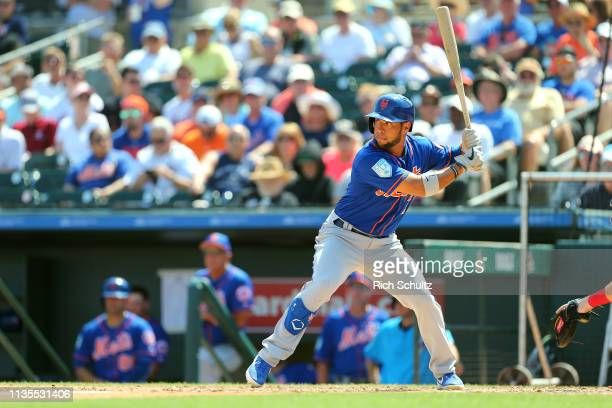 Gregor Blanco of the New York Mets in action against the Miami Marlins during a spring training baseball game at Roger Dean Stadium on March 12 2019...