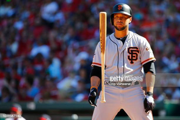 Gregor Blanco of the San Francisco Giants reacts after striking out against the St Louis Cardinals in the sixth inning at Busch Stadium on September...