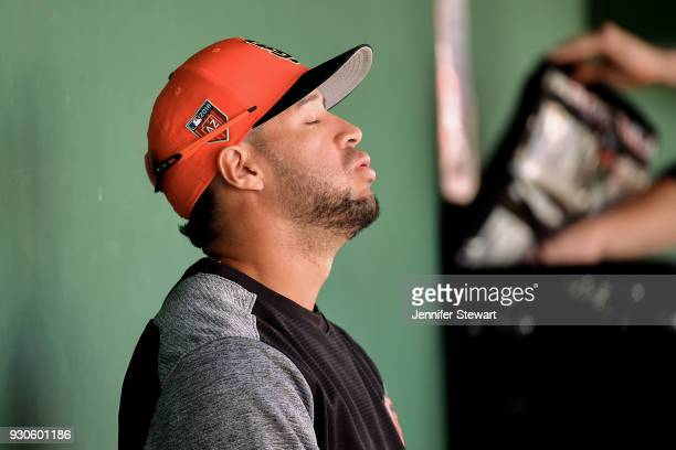 Gregor Blanco of the San Francisco Giants reacts in the dugout during the spring training game against the Kansas City Royals at Scottsdale Stadium...