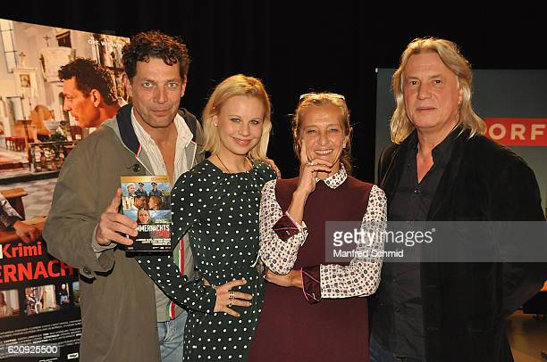 Gregor Bloeb, Katharina Strasser, Kathrin Zechner and Harald Sicheritz pose during the 'Landkrimi' presentation in Vienna at ORF Studio 2 on November...