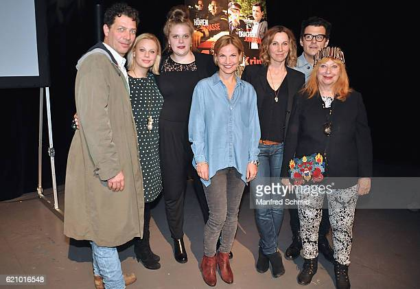 Gregor Bloeb Katharina Strasser Stefanie Reinsperger Kristina Sprenger Doris Schretzmayer Manuel Rubey and Inge Maux pose during the 'Landkrimi'...
