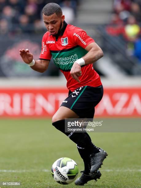 Gregor Breinburg of NEC Nijmegen during the Dutch Jupiler League match between NEC Nijmegen v Telstar at the Goffert Stadium on April 2 2018 in...