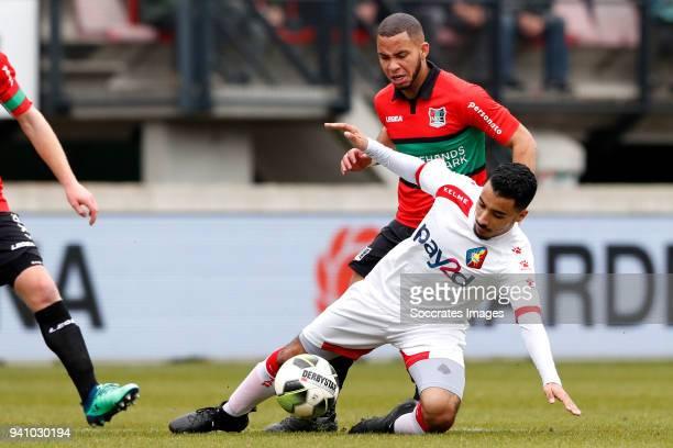 Gregor Breinburg of NEC Nijmegen Mohamed Hamdaoui of Telstar during the Dutch Jupiler League match between NEC Nijmegen v Telstar at the Goffert...