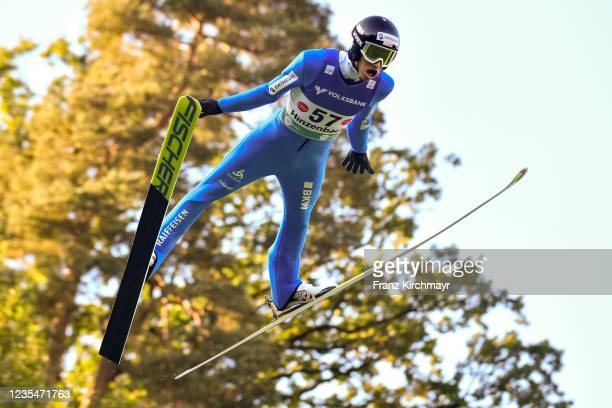 Gregor Deschwanden of Switzerland competes during the FIS Grand Prix Skijumping Hinzenbach at on February 6, 2021 in Eferding, Austria.
