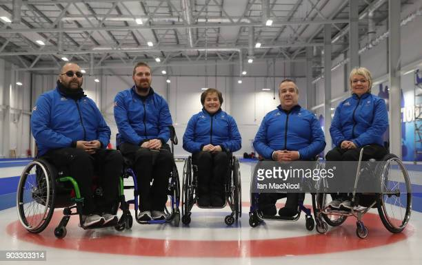 Gregor Ewan Hugh Nibloe Aileen Nelson Robert McPherson and Angie Malone are seen at announcement of the ParalympicsGB Wheelchair Curling Team at The...