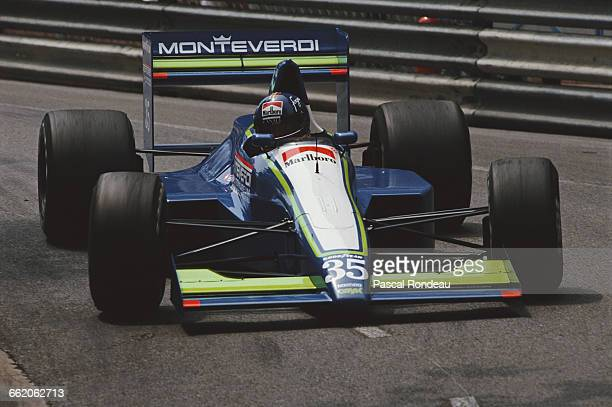 Gregor Foitek of Switzerland drives the Monteverdi Moneytron Onyx ORE1B Cosworth V8 during the Grand Prix of Monaco on 27 May 1990 on the streets of...