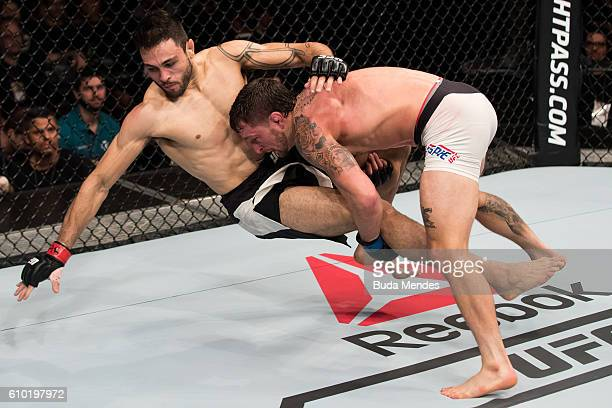 Gregor Gillespie of the United States controls the body Glaico Franca of Brazil in their lightweight UFC bout during the UFC Fight Night event at...