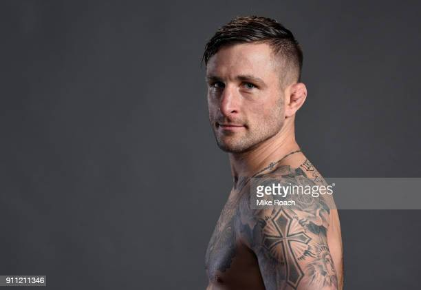 Gregor Gillespie poses for a post fight portraits backstage during a UFC Fight Night event at Spectrum Center on January 27 2018 in Charlotte North...